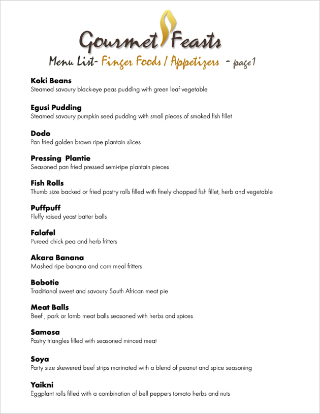 Food Menu List Samples